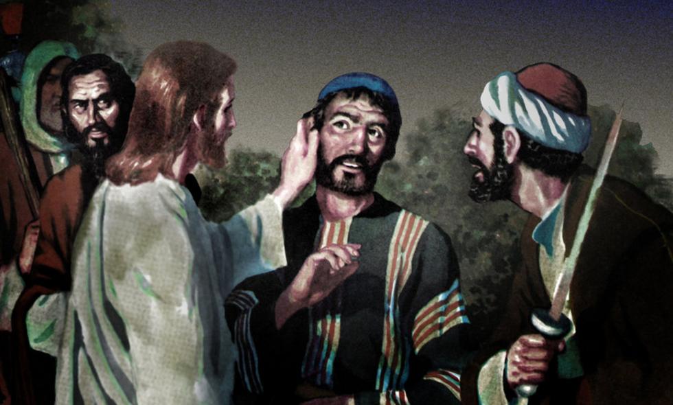 A depiction of Jesus healing a deaf man.