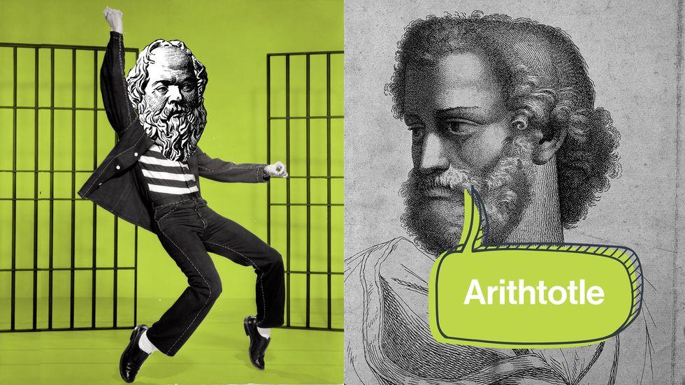 Socrates' dance moves and Aristotle's lisp. Credit: Public domain/Big Think