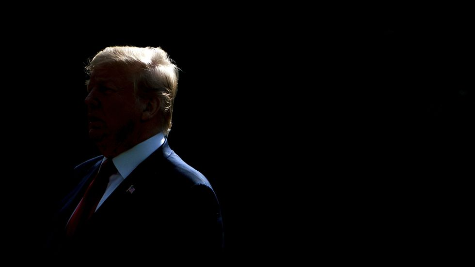 A silhouette of President Trump.