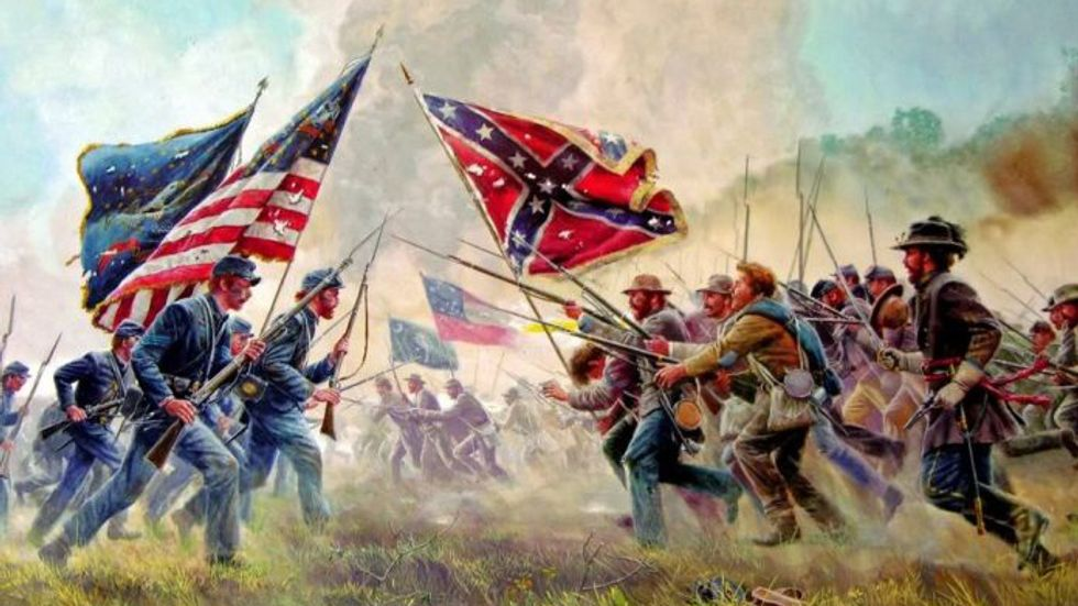 Second Civil War, Union Confederate, (Painting by Mort Kunstler)