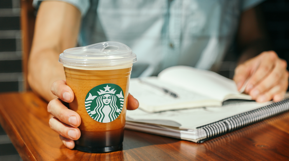 Starbucks coffee without a straw, sip cup