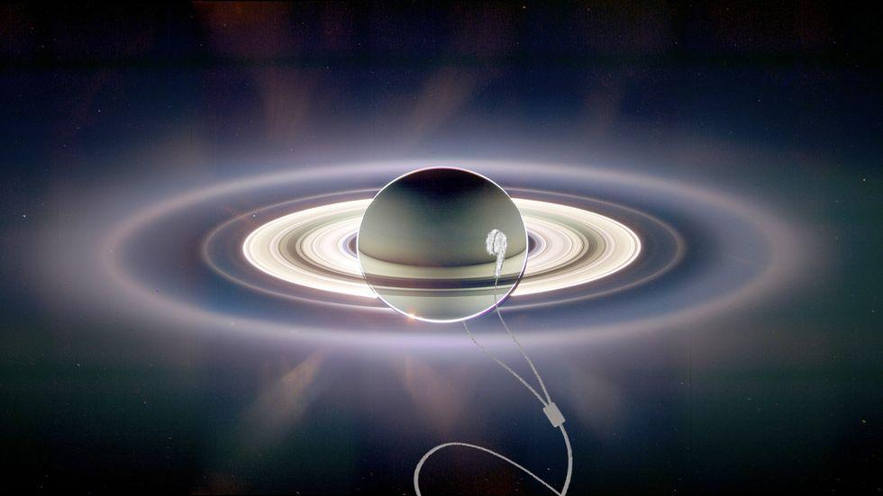 Saturn wearing headphones