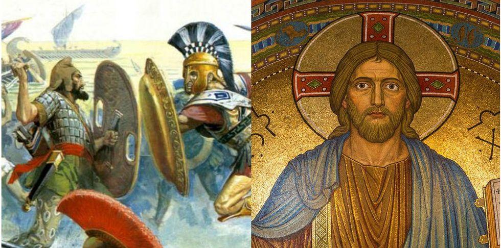 Greek Solders and Jesus Christ,