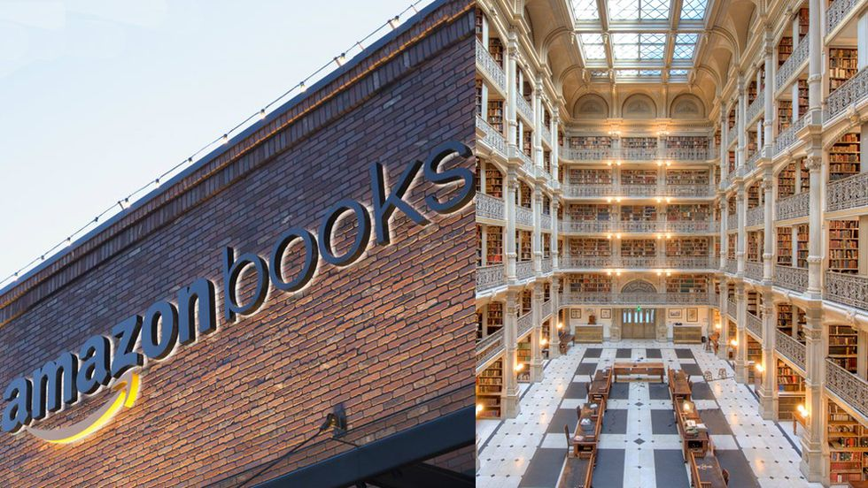 Amazon book stores versus public library. George Peabody Library.
