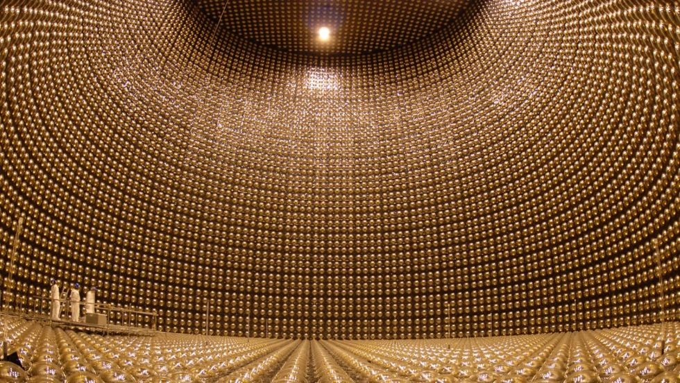 The Super-Kamiokande neutrino detector nearly emptied of its super-pure water