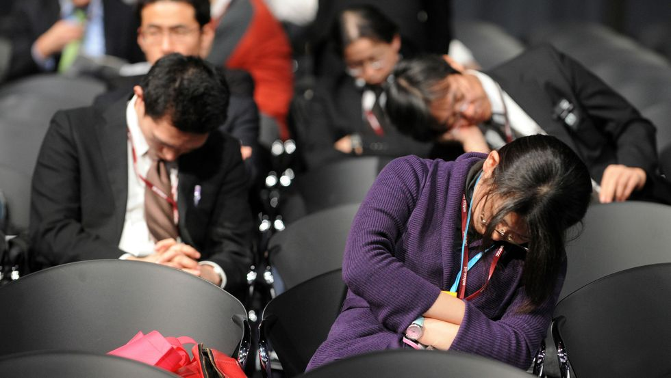 Sleeping delegates at the Copenhagen climate meeting
