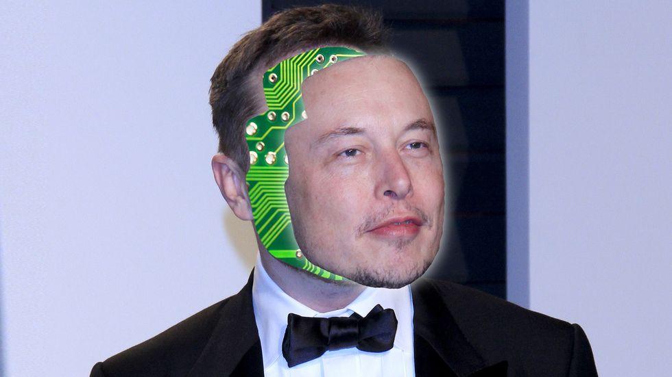 Elon Musk with a computer brain Neuralink (Photo: Shutterstock/Big Think)