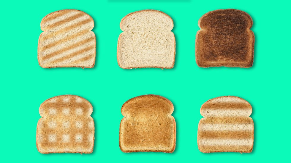 pieces of toast, representing carbohydrates in diet