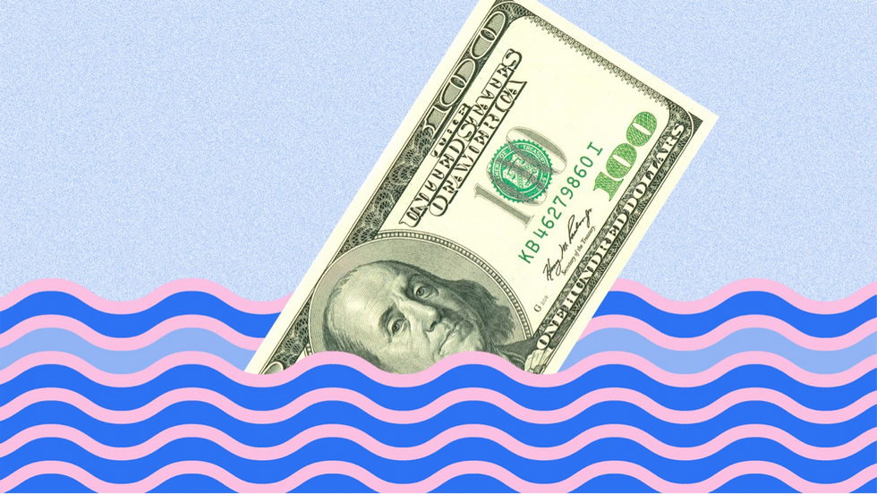 sinking $100 bill, drowning cash
