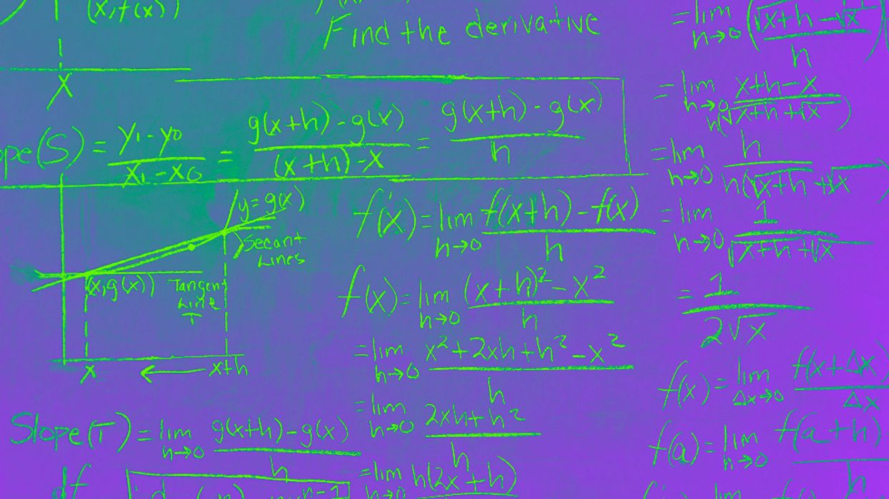A mathematics problem on a blackboard with color effect