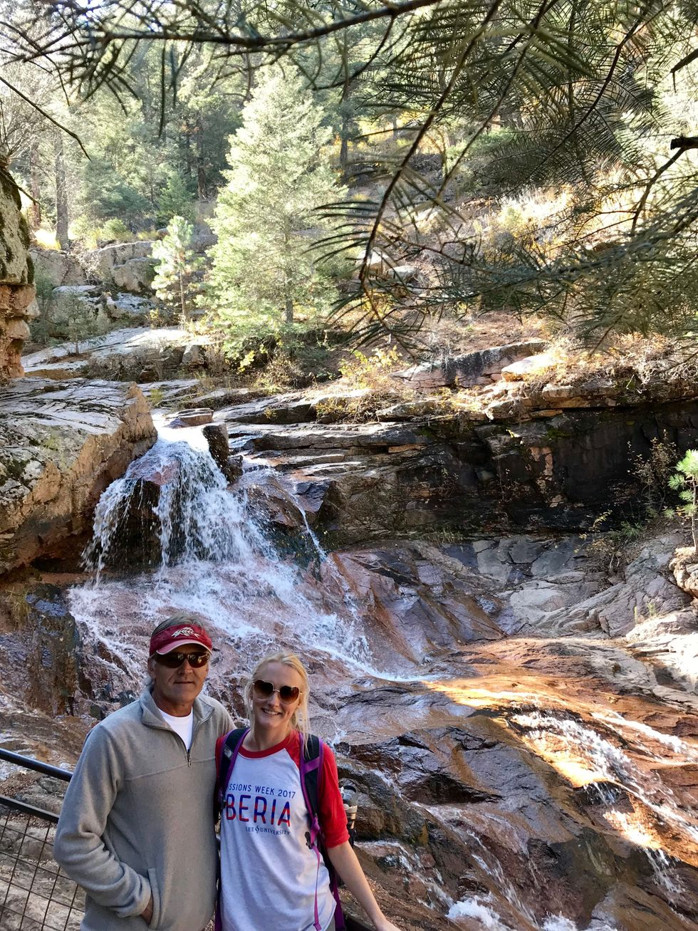 My dad and I hiking