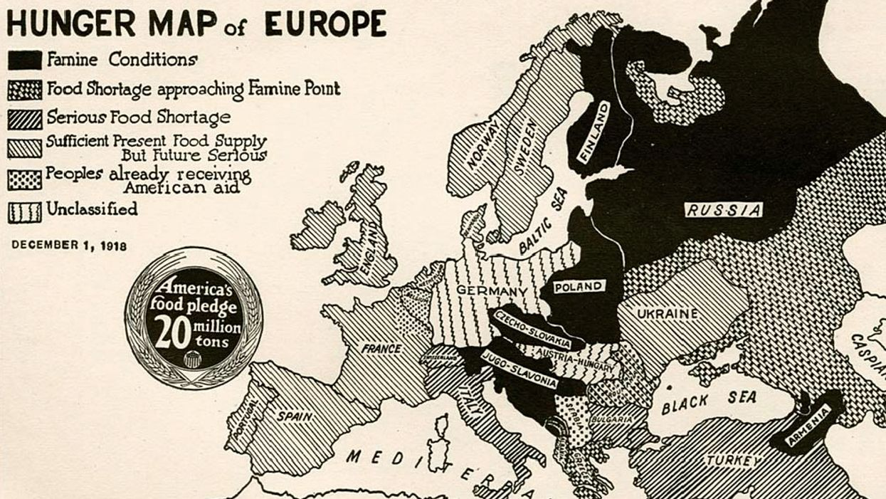 Map shows U.S. effort to feed Europe after WWI