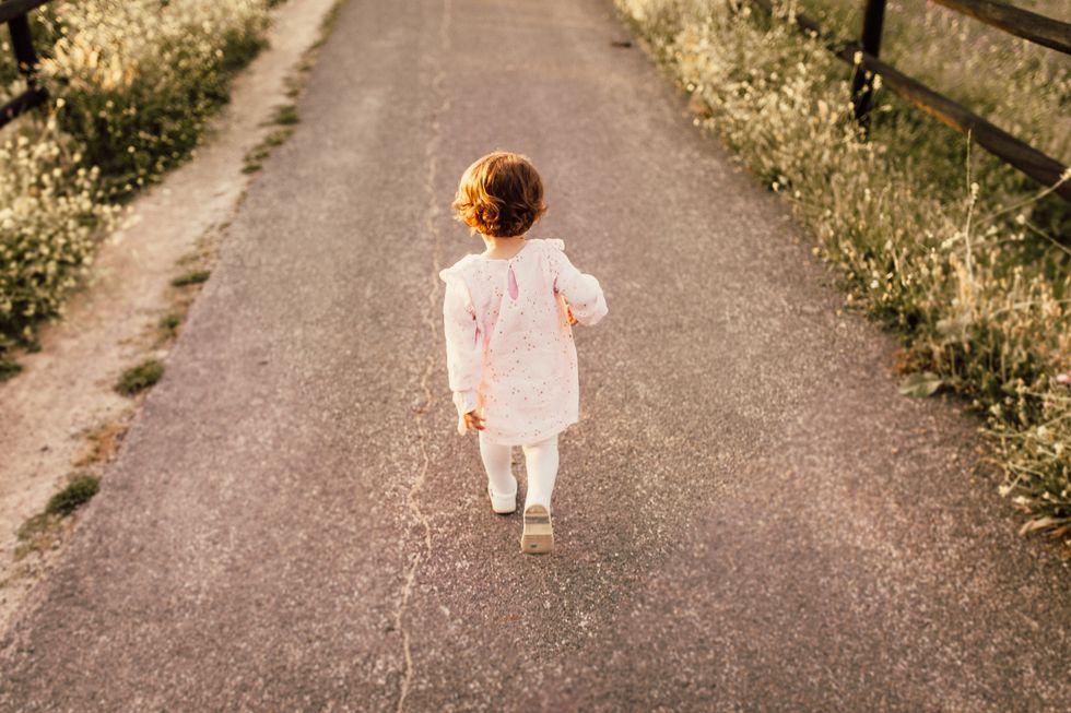little girl walking