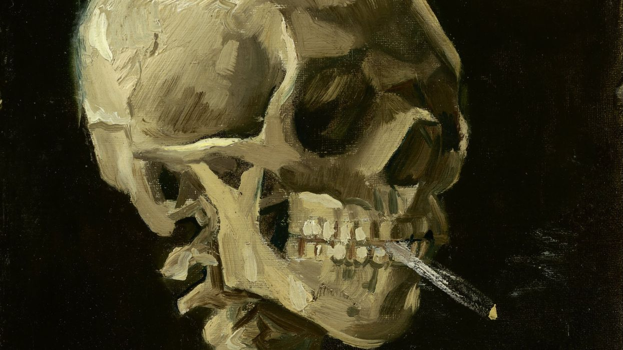 Skull of a Skeleton with Burning Cigarette, by Van Gogh