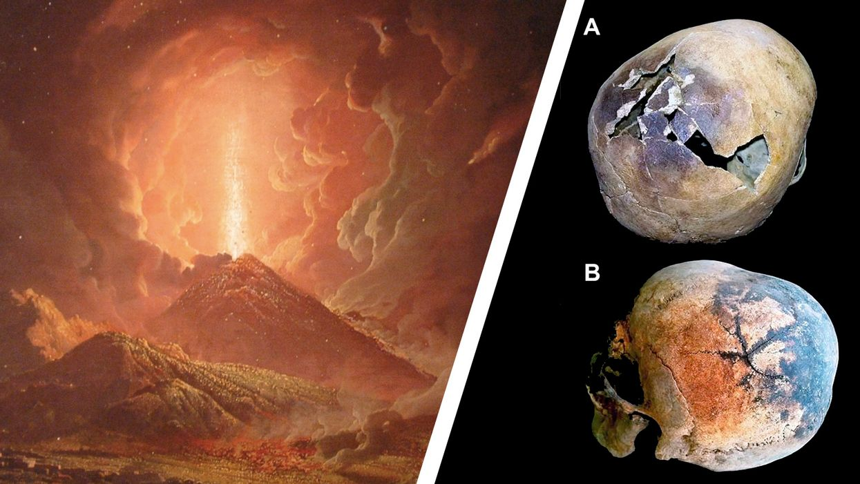 Mount Vesuvius skull explosion and blood vaporizing
