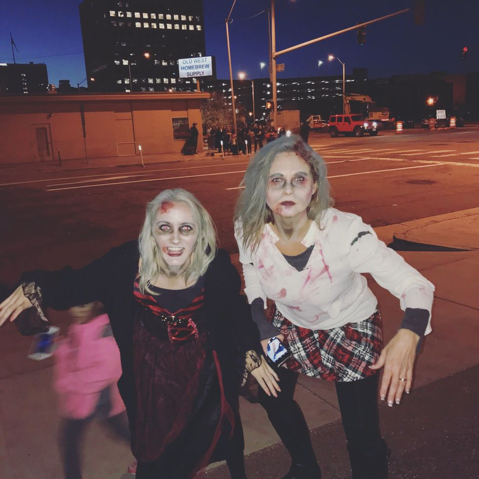 My mom and I as zombies