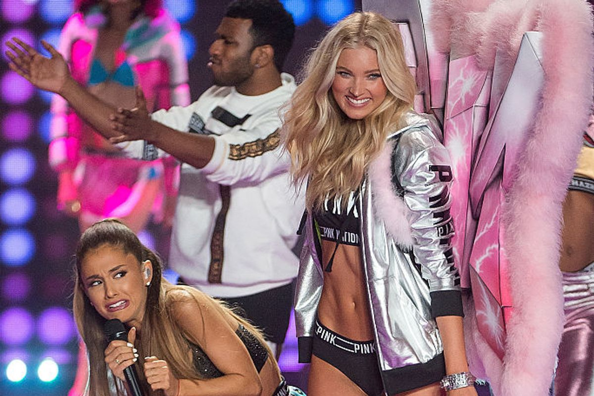 Remember When Ariana Grande Got Hit In The Face By A Victoria's Secret Angel?