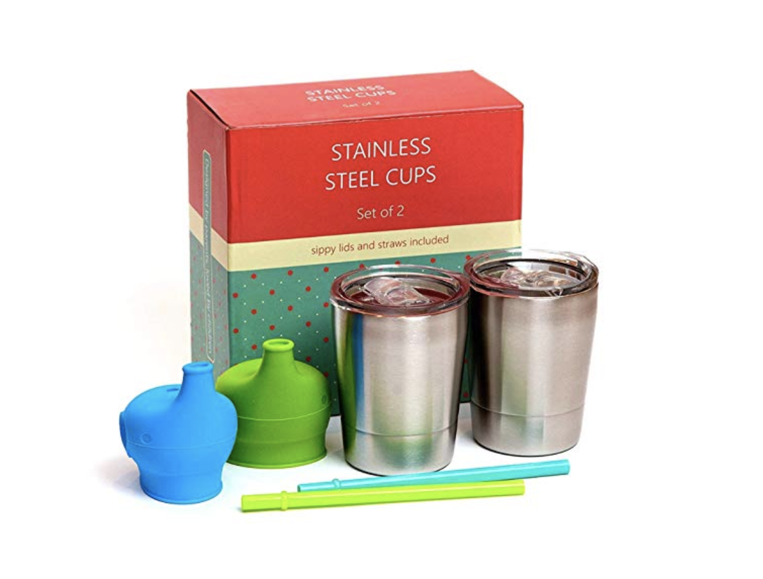 Stainless Steel Toddler Tumblers with Silicone Straws