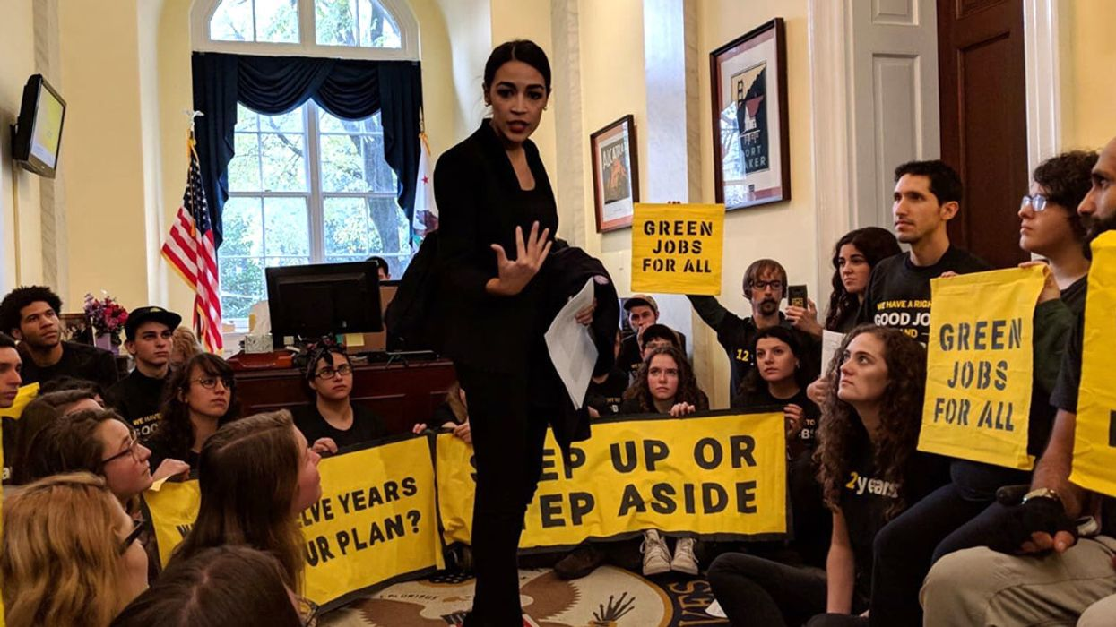 Climate Leader Alexandria Ocasio-Cortez Joins Hundreds of Activists in Pelosi's Office to Call for a Green New Deal