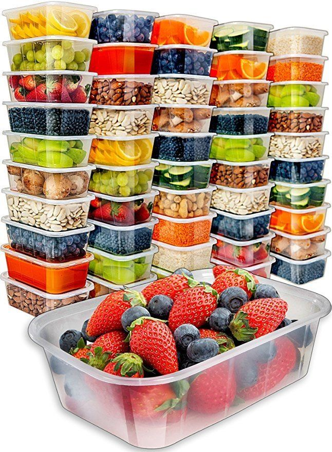 Food Storage Containers with Lids - Food Containers Meal Prep Plastic Containers with Lids Food Prep Containers Deli Containers with Lids Freezer Containers with lids Disposable Containers