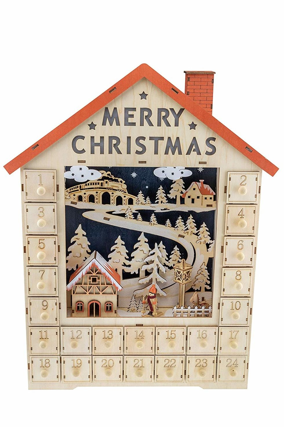 Clever Creations Traditional Wooden Christmas Advent Calendar
