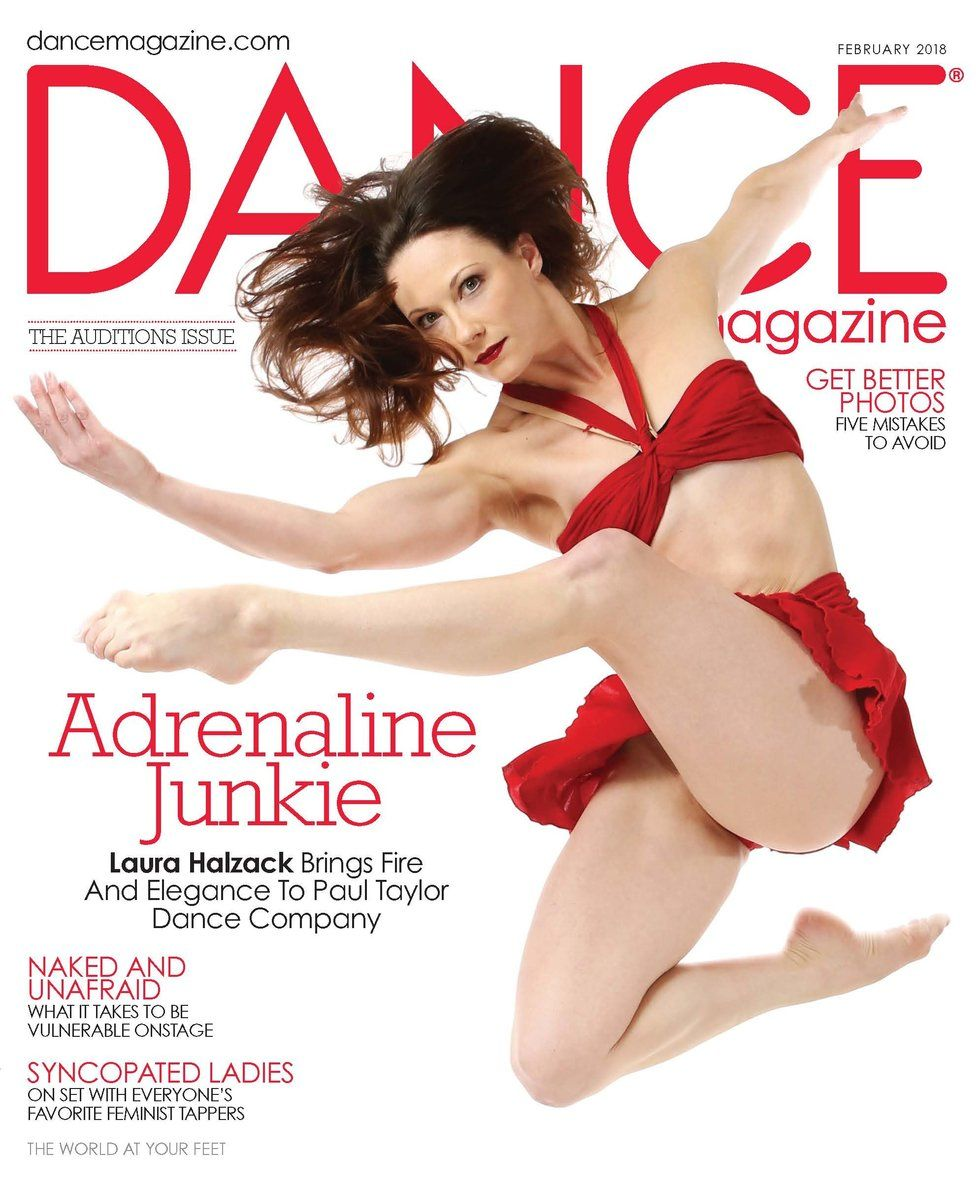 In Dance Magazine's February 2018 cover, Laura Halzac jumps toward the camera in a red two-piece
