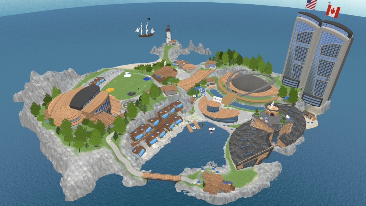 This virtual island isn't a video game. It's the offices of a $610 million company.