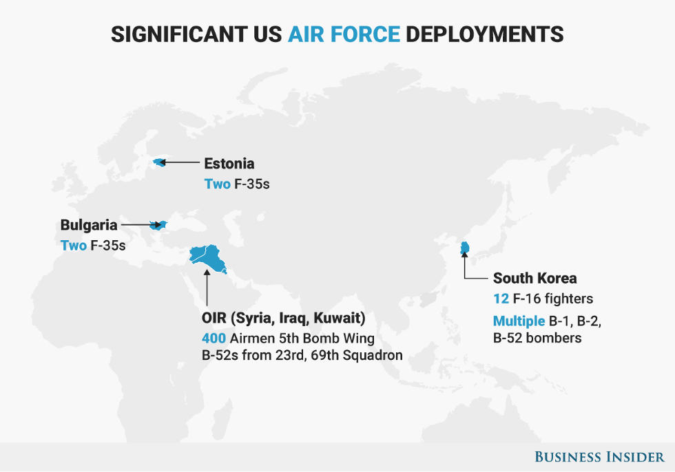 5 Maps That Show The Major Hotspots Where The Us Military Is - Air-force-bases-us-map