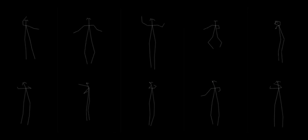 A grid of black and white figures shows a series of various poses a dancer could take.