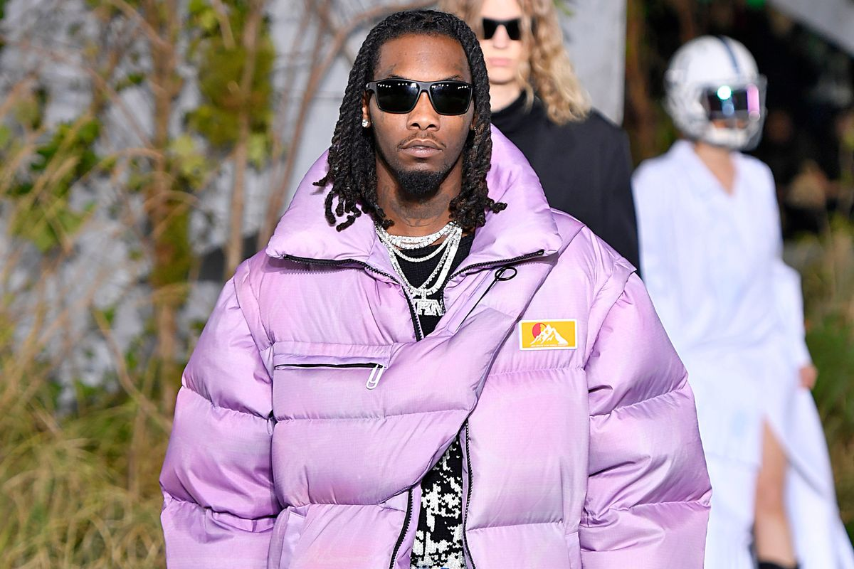 Offset Wore a Floor-Length Lilac Puffer at Off-White