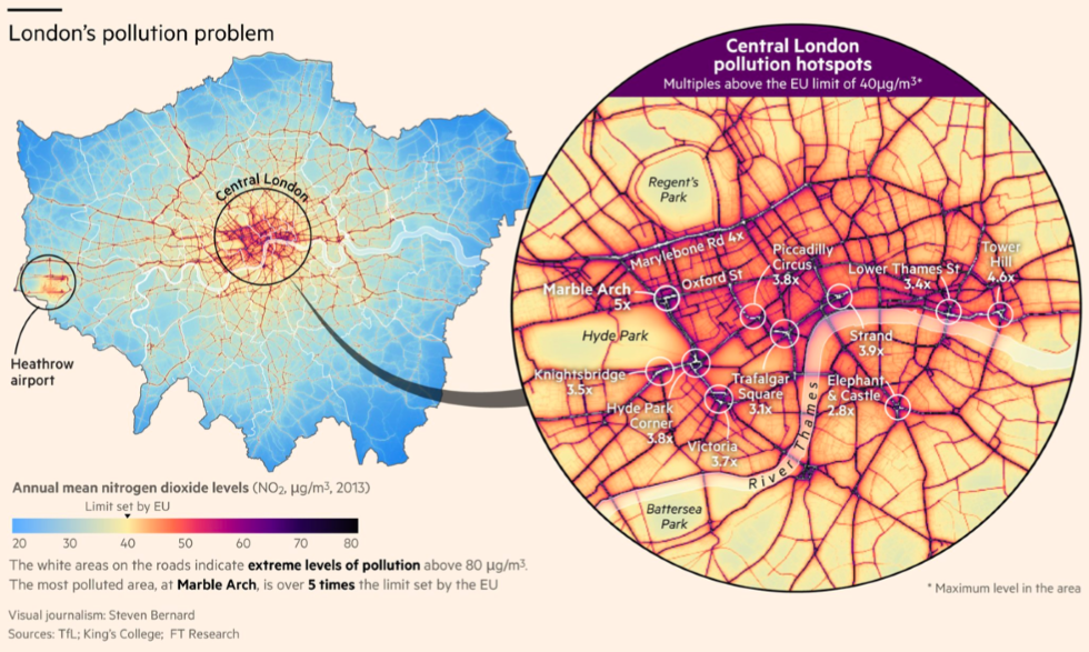 Areas Of Central London Map.London S Air Pollution Has Surpassed Toxic Levels Big Think