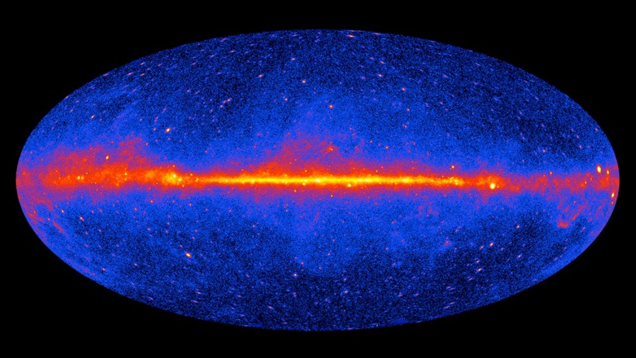 This map of the entire sky shows the location of 739 blazars used in the Fermi Gamma-ray Space Telescope's measurement. Brighter areas have stronger gamma rays.