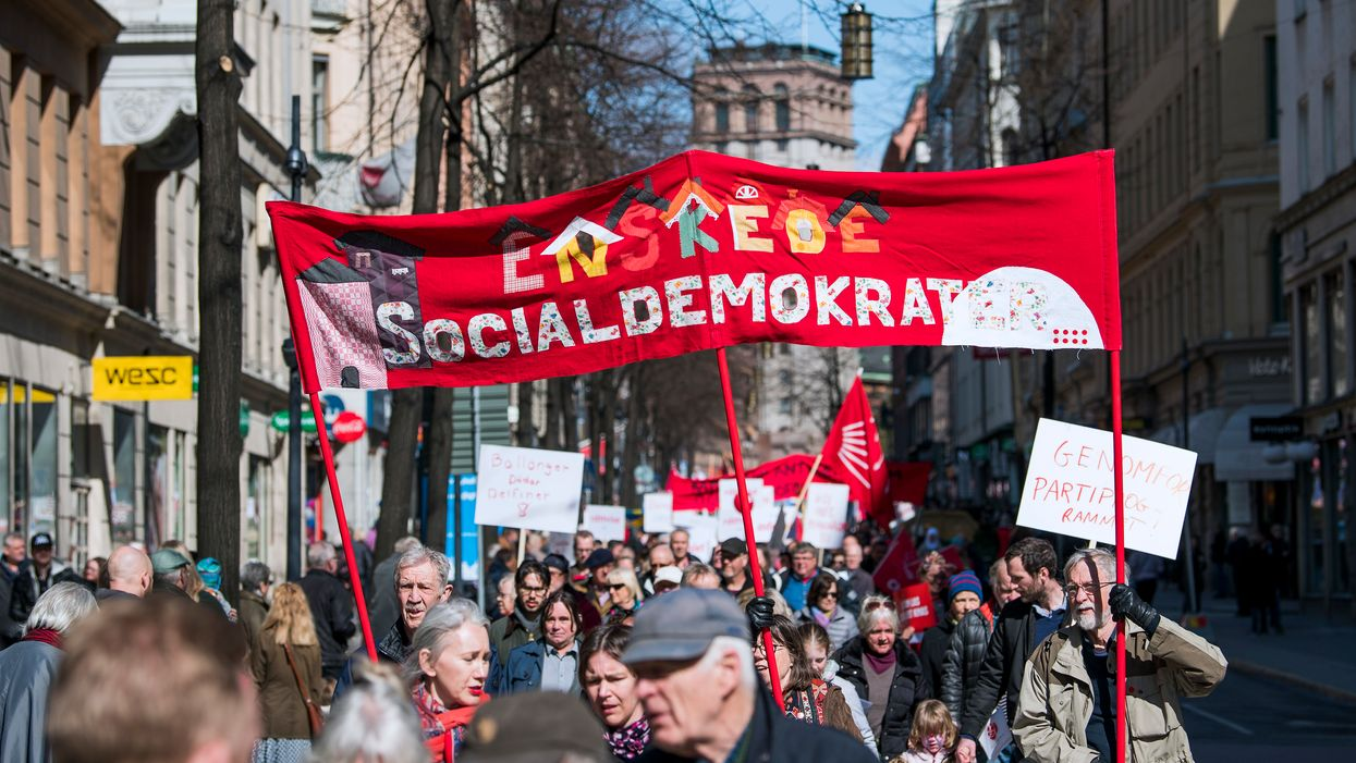 A Labour day march in Stockholm.