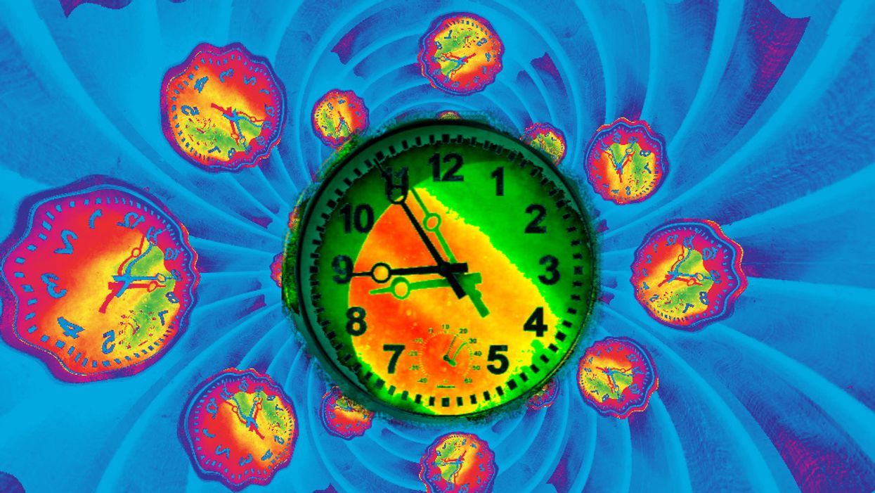 A kaleidoscopic image of psychedelically colored clocks