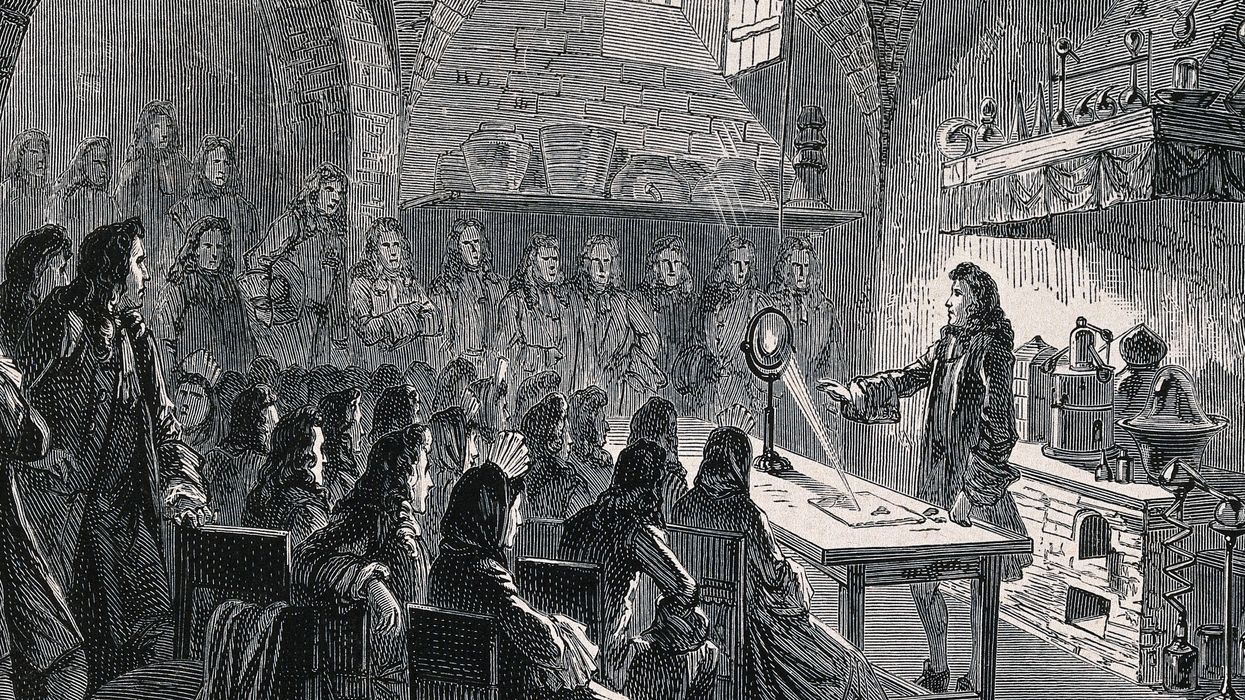newton showing an optical experiment