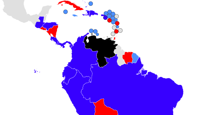 Map of countries that support Maduro or Guaido - Big Think