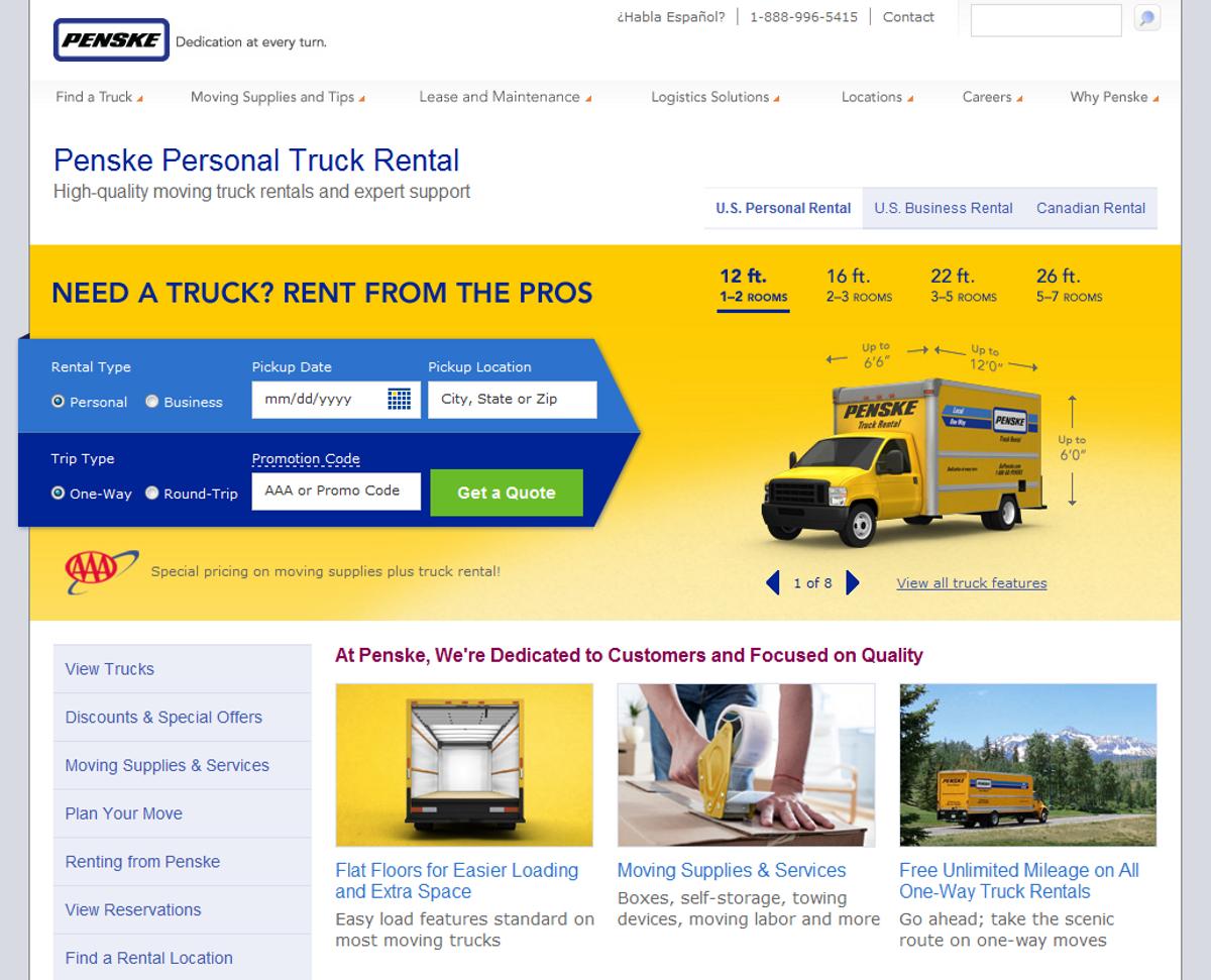 Penske Truck Rental Upgrades Website