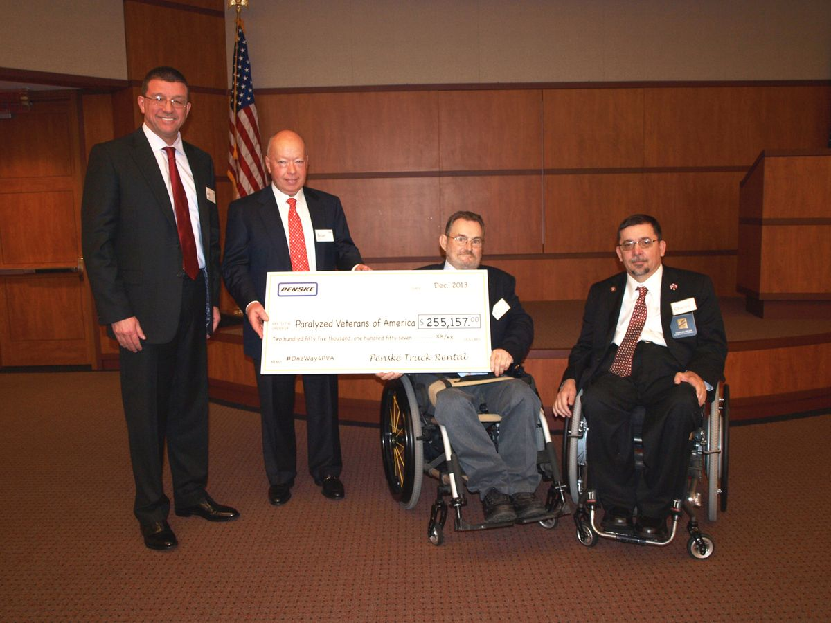 Penske Donation Brightens Holidays for Paralyzed Veterans of America