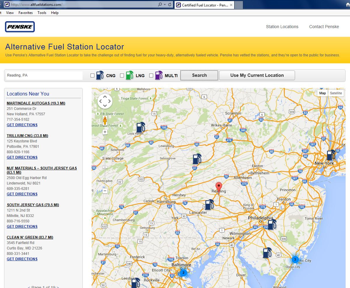 Penske Introduces Alternative Fuel Station Finder Website