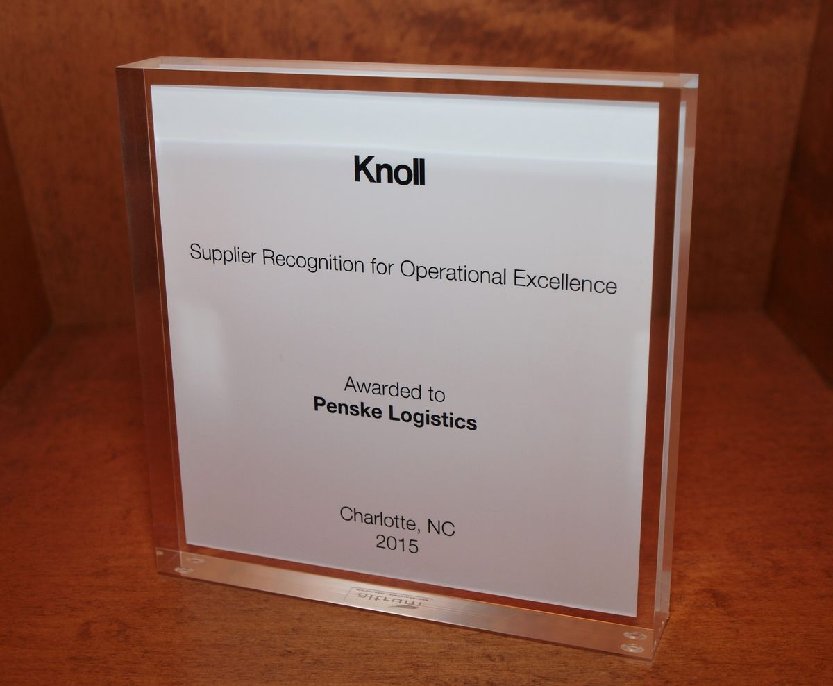 Penske Logistics Given Operational Excellence Award by Knoll, Inc.