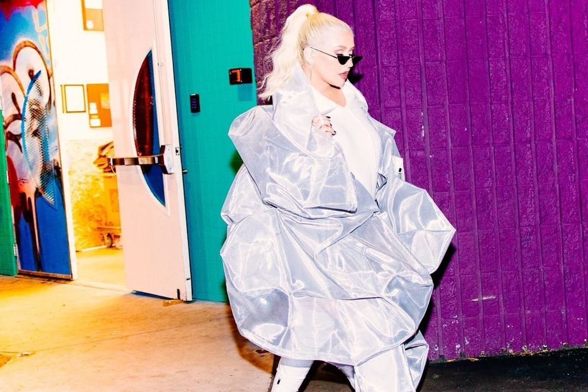 The Brand Behind Christina Aguilera's Oversized Silver 'Hoodie'