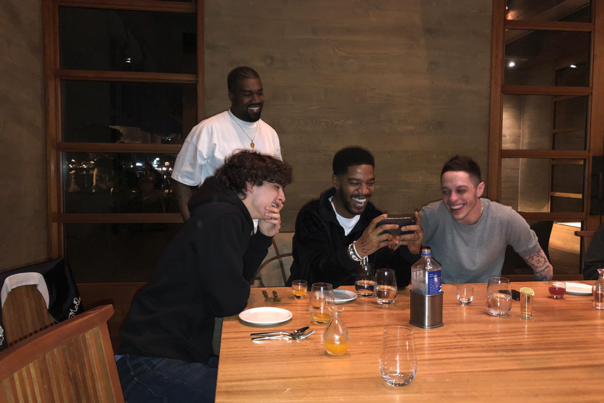 Kanye, Timothée, Pete and Kid Cudi Cracked a Cold One Last Night