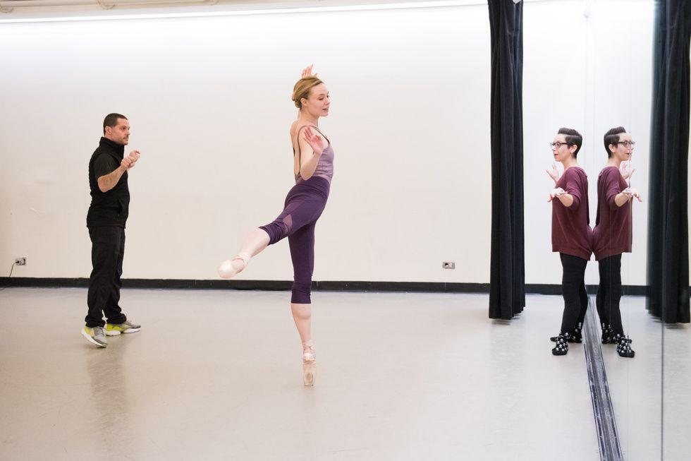 Joshua Bergasse coaches Sara Mearns in rehearsal