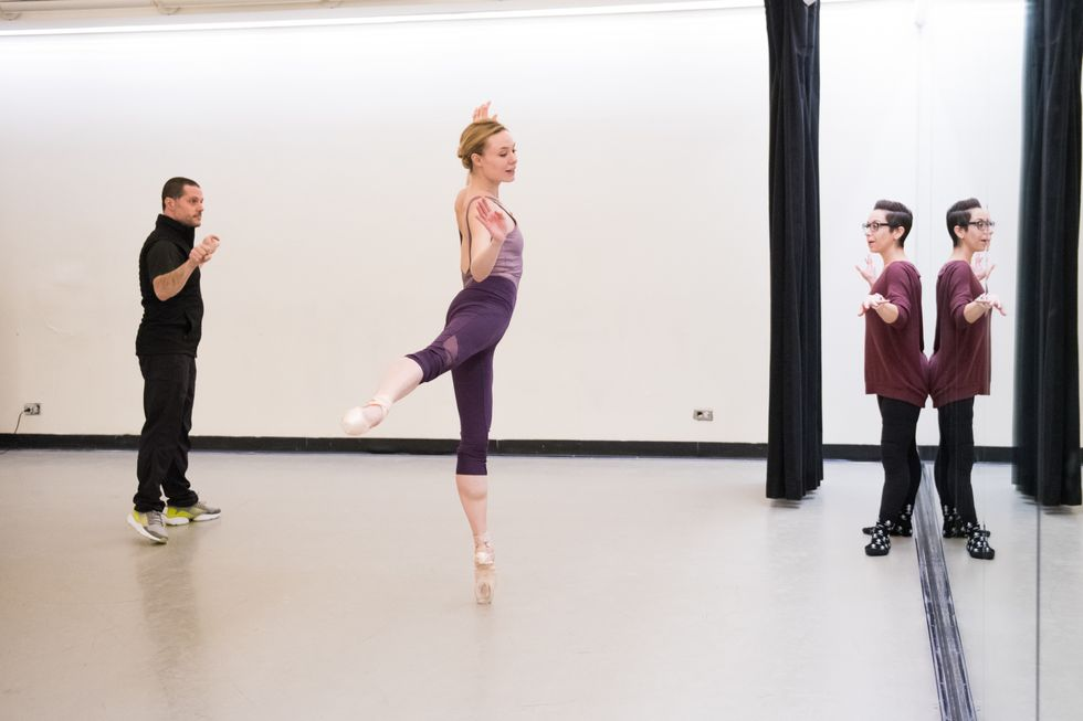 Joshua Bergasse coaches Sara Mearns in rehearsal