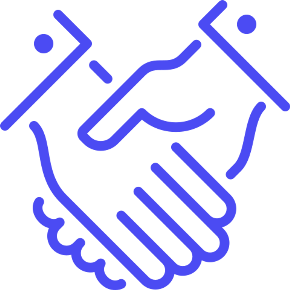 icon of 2 hands being held