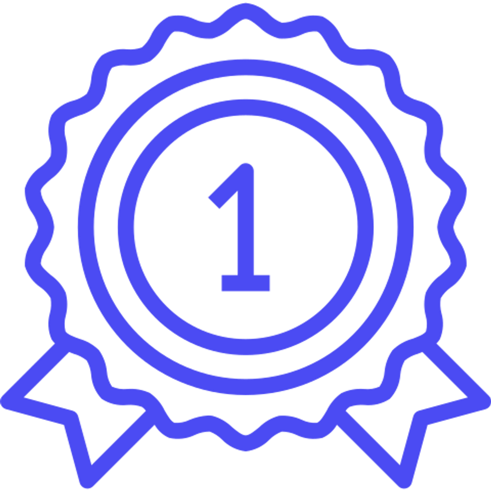 icon of a number one ribbon