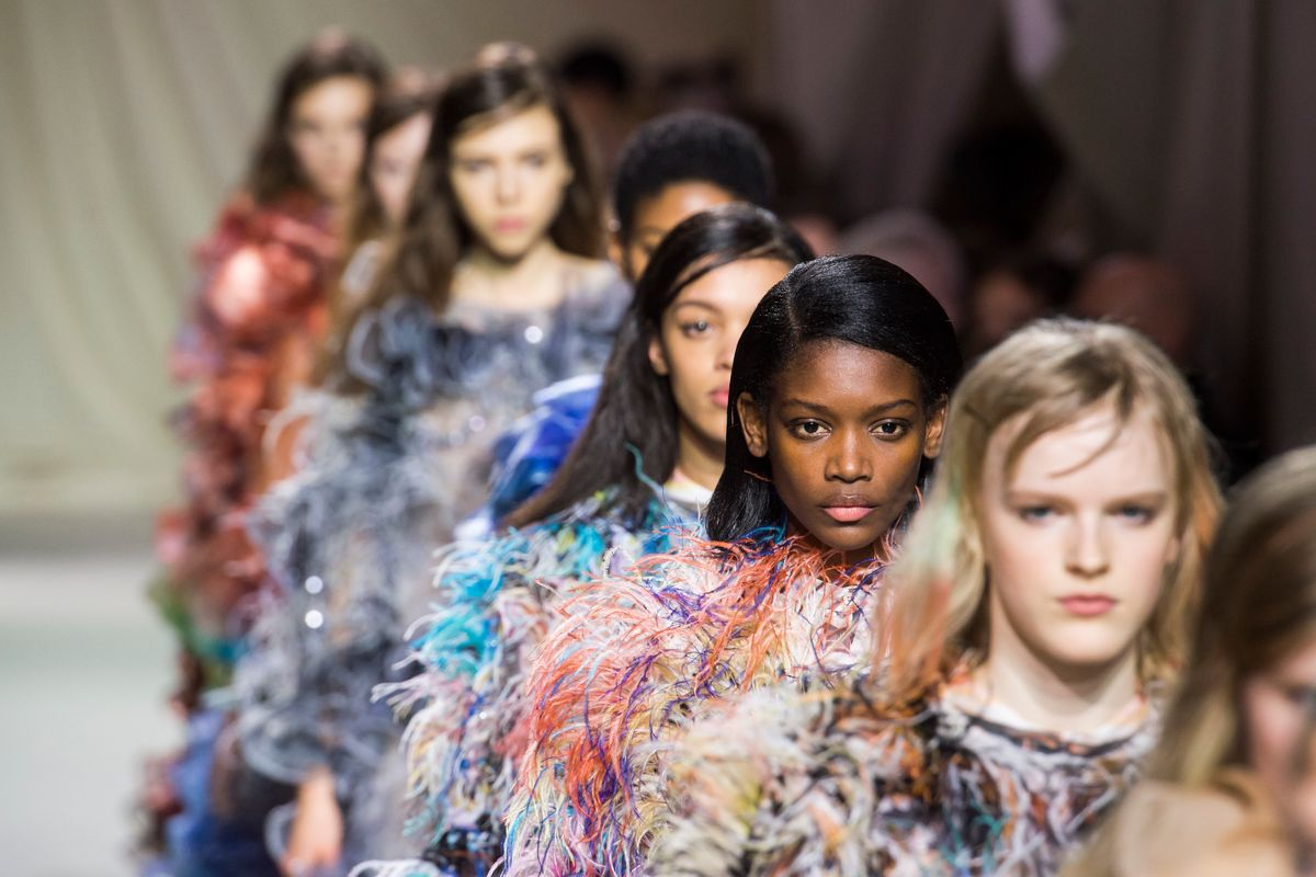 Mary Katrantzou's Rainbow Feathered Frocks Have Zero Chill