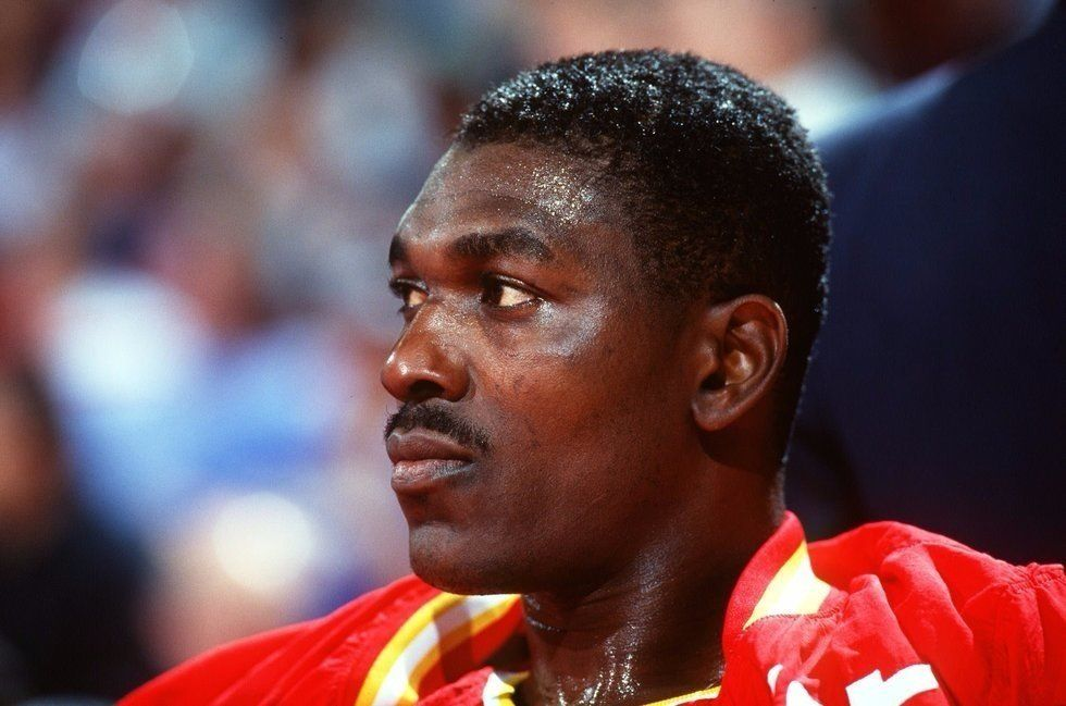 Hakeem Olajuwon playing for the Houston Rockets in 1993