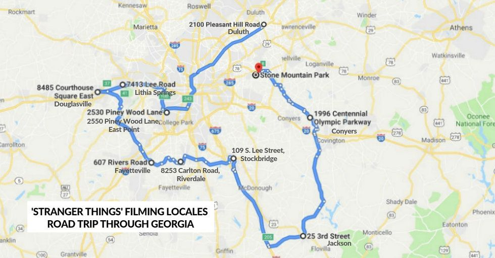 Map Of Georgia Gwinnett College.We Made A Map So You Can Take A Road Trip Of Stranger Things