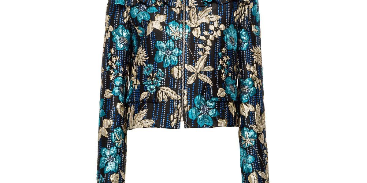Cloqué Jacket With Floral Motif